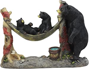 Ebros Wildlife Black Mother Bear and Cubs On Camping Hammock Statue Country Cabin Woodlands Decor for Hunters Campers Hikers