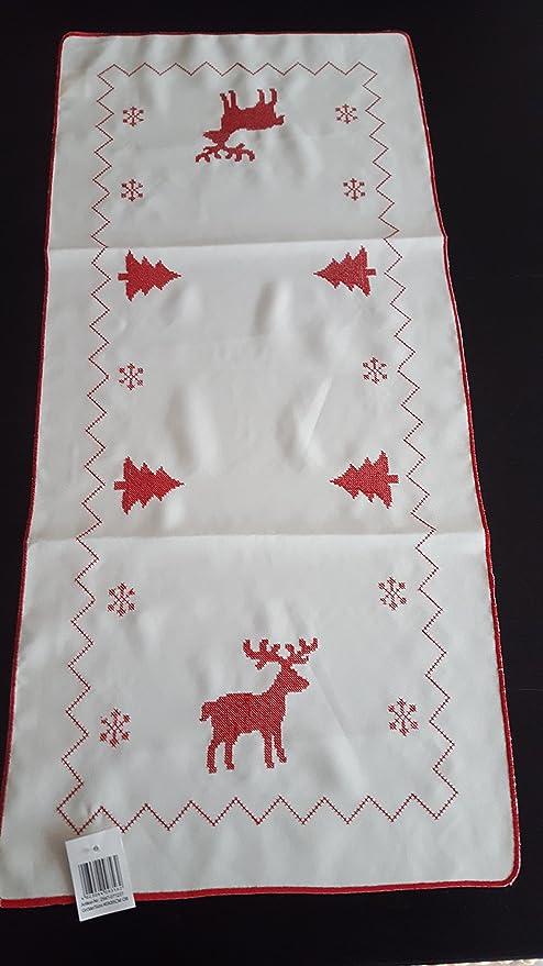 Mantel Mesa Ropa Camino de mesa Navidad Rojo Blanco Reno hirch 40 ...