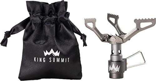 KING SUMMIT Ultralight Backpacking, Camping, Hiking, and Travel Stove Premium Outdoor Backpacker Portable Stove Durable Titanium Cosntruction Ultra light Carry Bag Included
