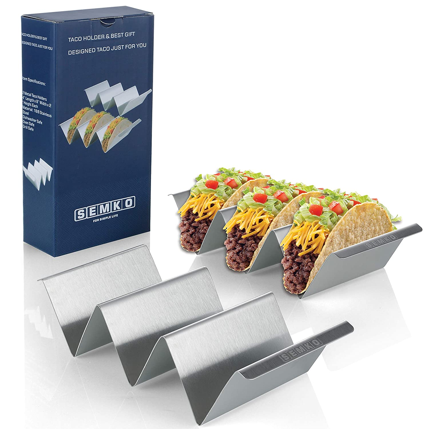 Taco Holder Stand Set of 2, Oven Grill Safe Stainless Steel Taco Tray with Side Handle, Each Rack Holds Up to 3 Tacos, Size 4'' x 8'', Dishwasher Safe, Smooth Edge