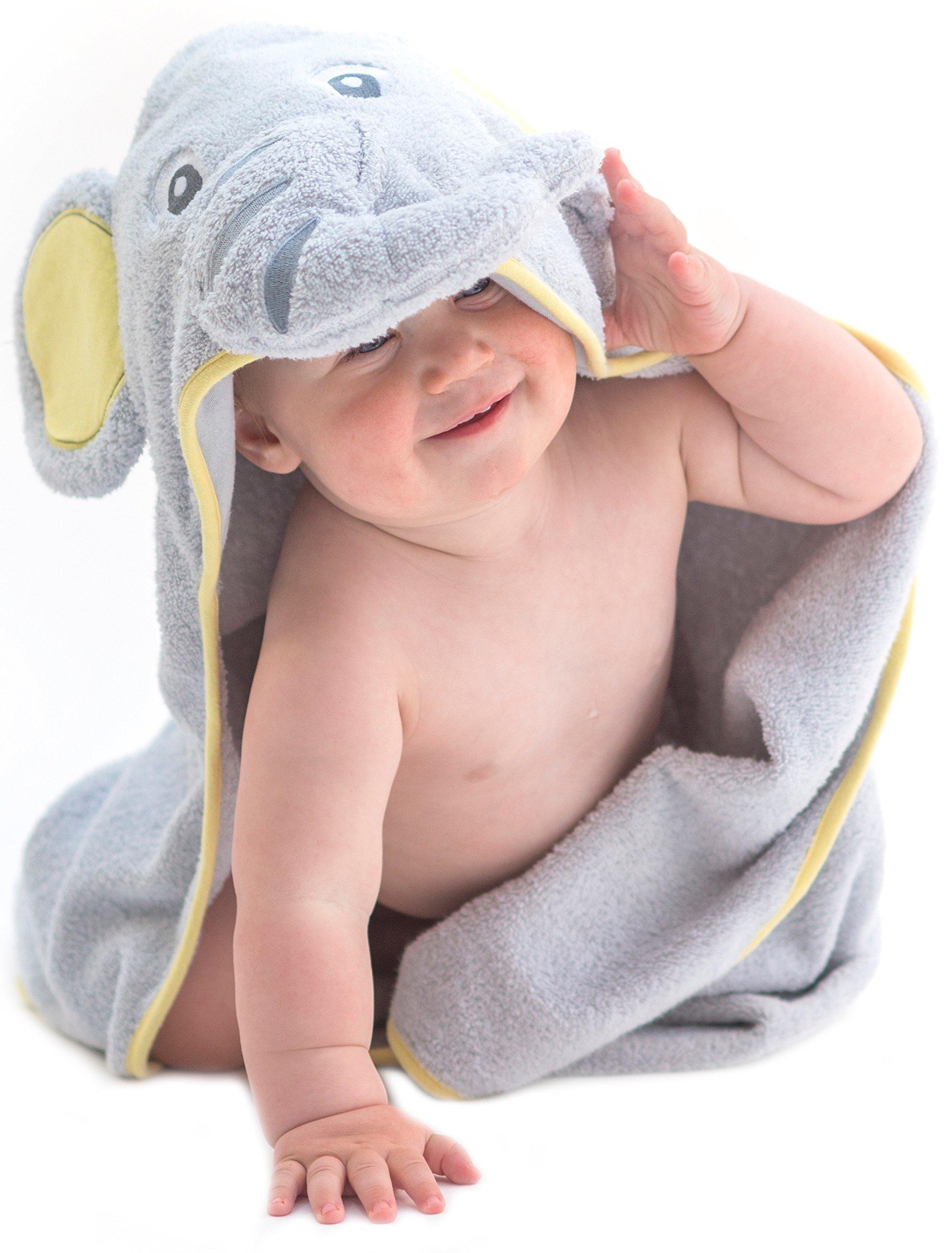 Little Tinkers World Toalla de bebé con capucha de elefante EXTRA SUAVE - Toalla de baño