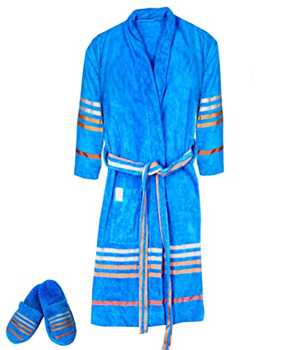 Buy Casa Copenhagen Exotic Bathrobe   Slipper Set Free Size - Blue Jewel  Online at Low Prices in India - Amazon.in 7ebddab78