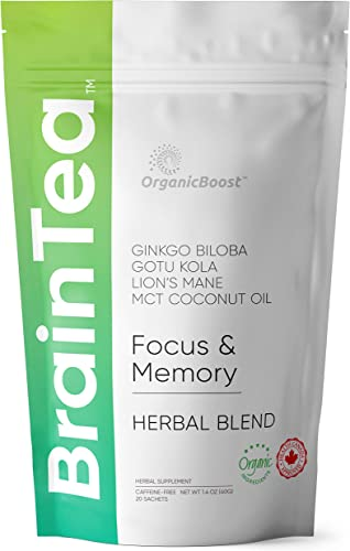 Brain Tea – Organic Gotu Kola, Ginkgo Biloba, Lion s Mane Mushroom, MCT. Brain Booster for Better Memory Focus