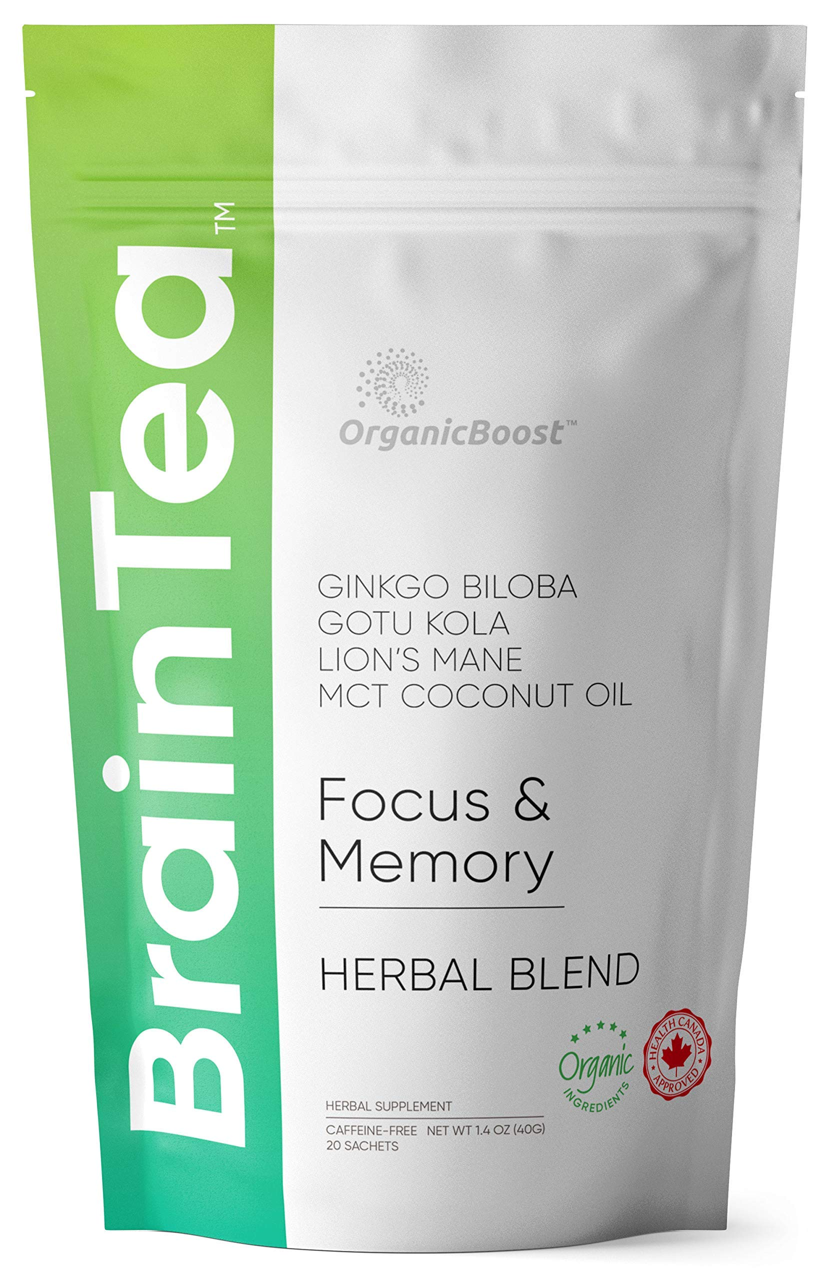 Brain Tea - Organic: Gotu Kola, Ginkgo Biloba, Lion's Mane Mushroom, MCT. Brain Booster for Better Memory & Focus, Nootropic Tea