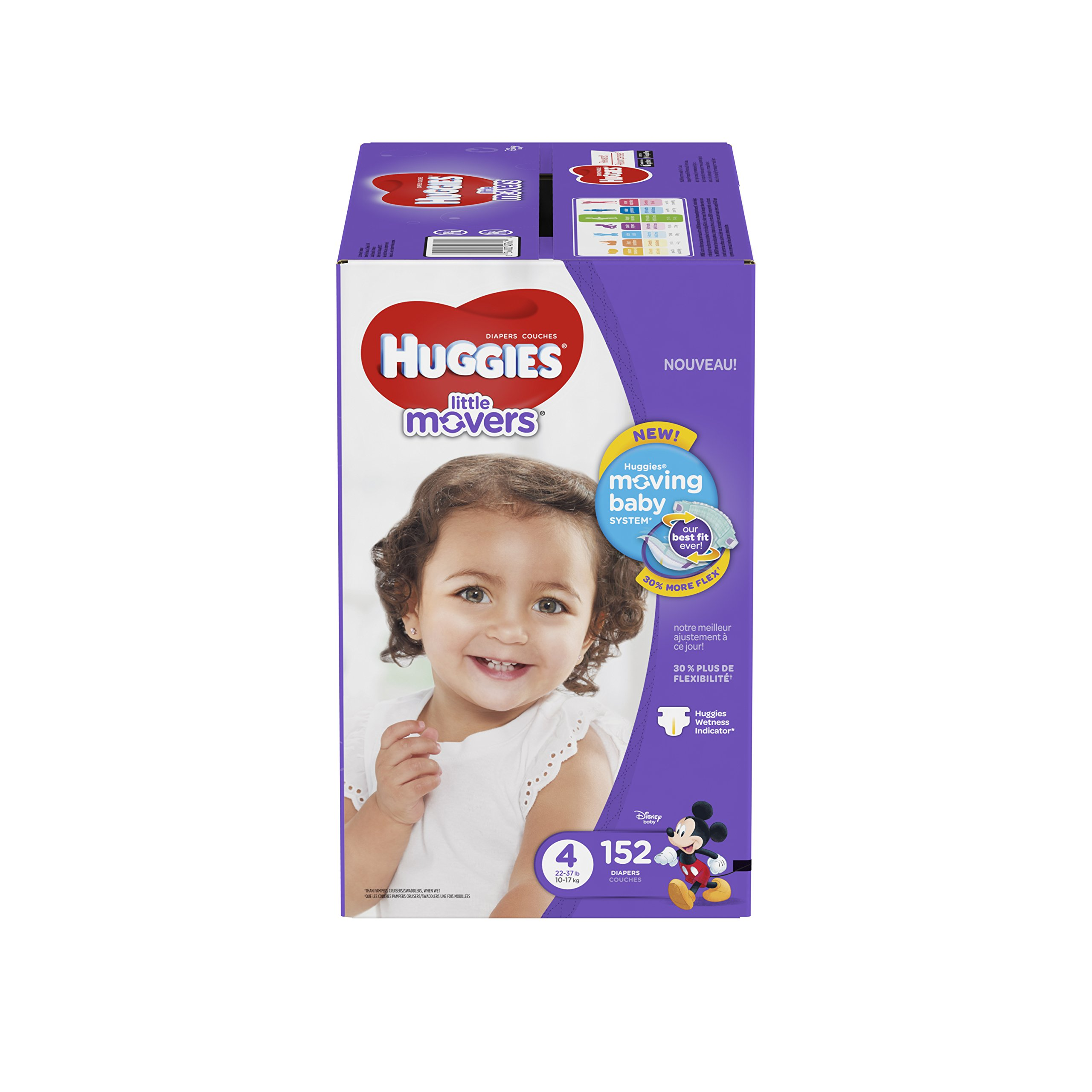 HUGGIES Little Movers Diapers, Size 4, For 22 - 37 lbs., Box of 152 Baby Diapers for Active Babies, Packaging May Vary