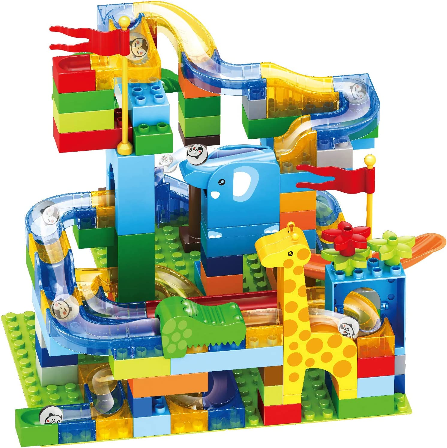 Little Brown Box Deluxe 168pc Animal Jungle Style Marble Run Set,Marble Roller Coaster Race Track Game - STEM Learning Toy Bricks & Educational Maze Building Blocks Kit – For Toddler Kids 3,4,5+ Years