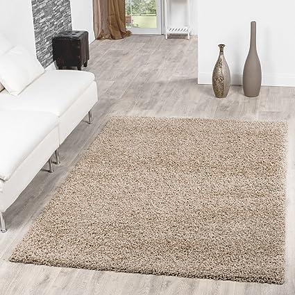 T&T Design Shaggy Teppich Hochflor Langflor Teppiche Wohnzimmer Preishammer  versch. Farben, Farbe:beige, Größe:10x10 cm
