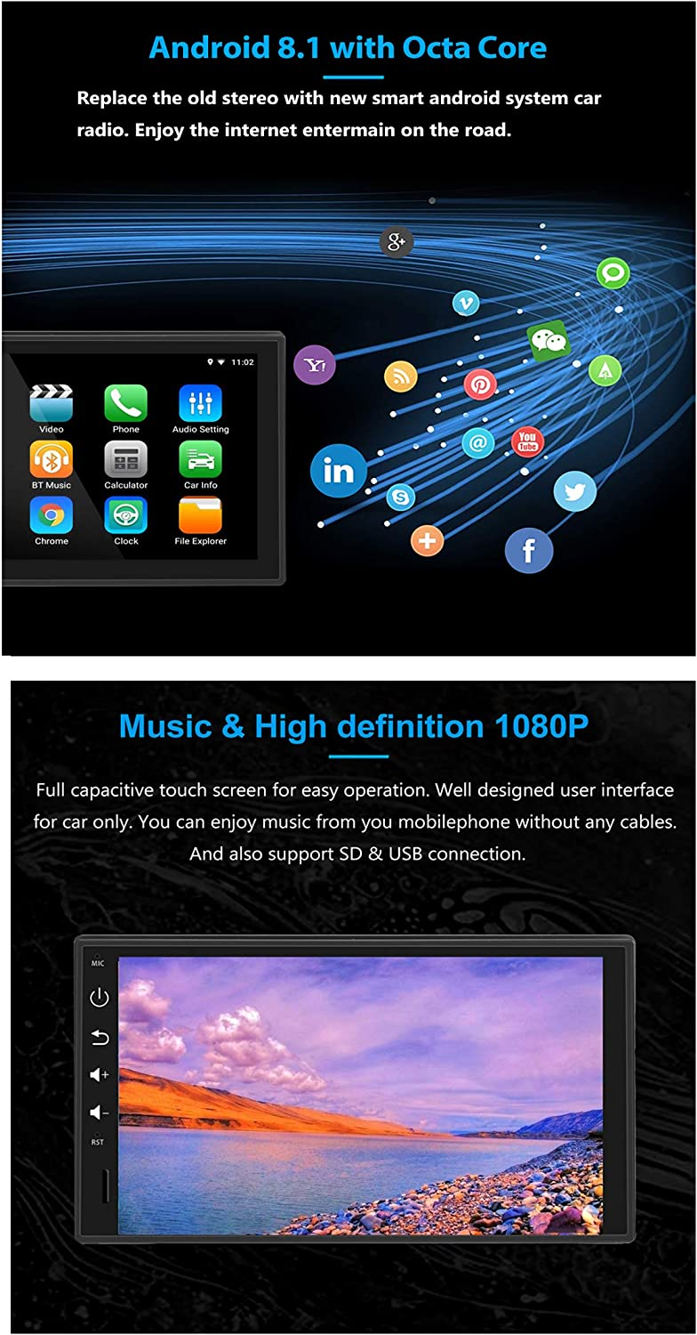 LEXXSON Din Android Car Stereo Android Octa Core 4GB RAM Head Unit with Nav Bluetooth WIFI Support DAB RDS GPS USB Mirror Link with inch Touch Screen Flip Out screen