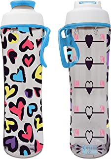 product image for Water Bottle for Kids With Time Markers - Motivational Bottles Remind Boys & Girls To Drink Water All Day - BPA Free, Leak Proof Plastic Bottle with Chug Cap & Carry Loop - USA Made (Leopard Hearts)