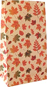 Thanksgiving Favor Treat Bags - 24 Pack Autumn Fall Leaves Pattern Kraft Paper Bags in Yellow and Red for Thanksgiving Gathering Dinner Celebration Party - 9.5