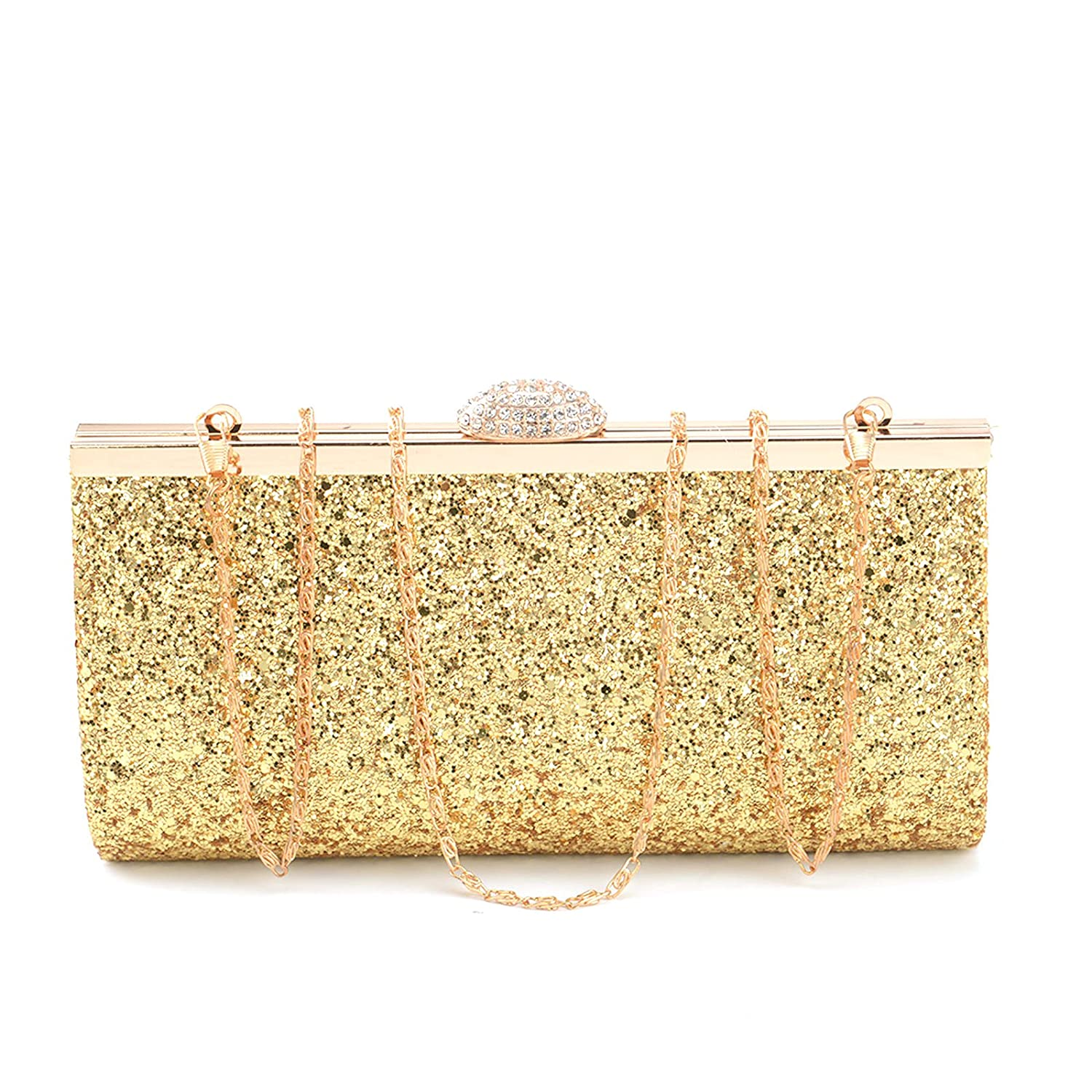 AllRight Women Fashion Gorgeous Glitter Clutch Bag Handbag Purse for Evening Prom Party - Assorted Sparkly Handbag Black