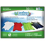 USolve New Eco-Friendly Ultra Concentrated Laundry Detergent Strips, The Future of Laundry - Fragrance Free, 50 Loads - More