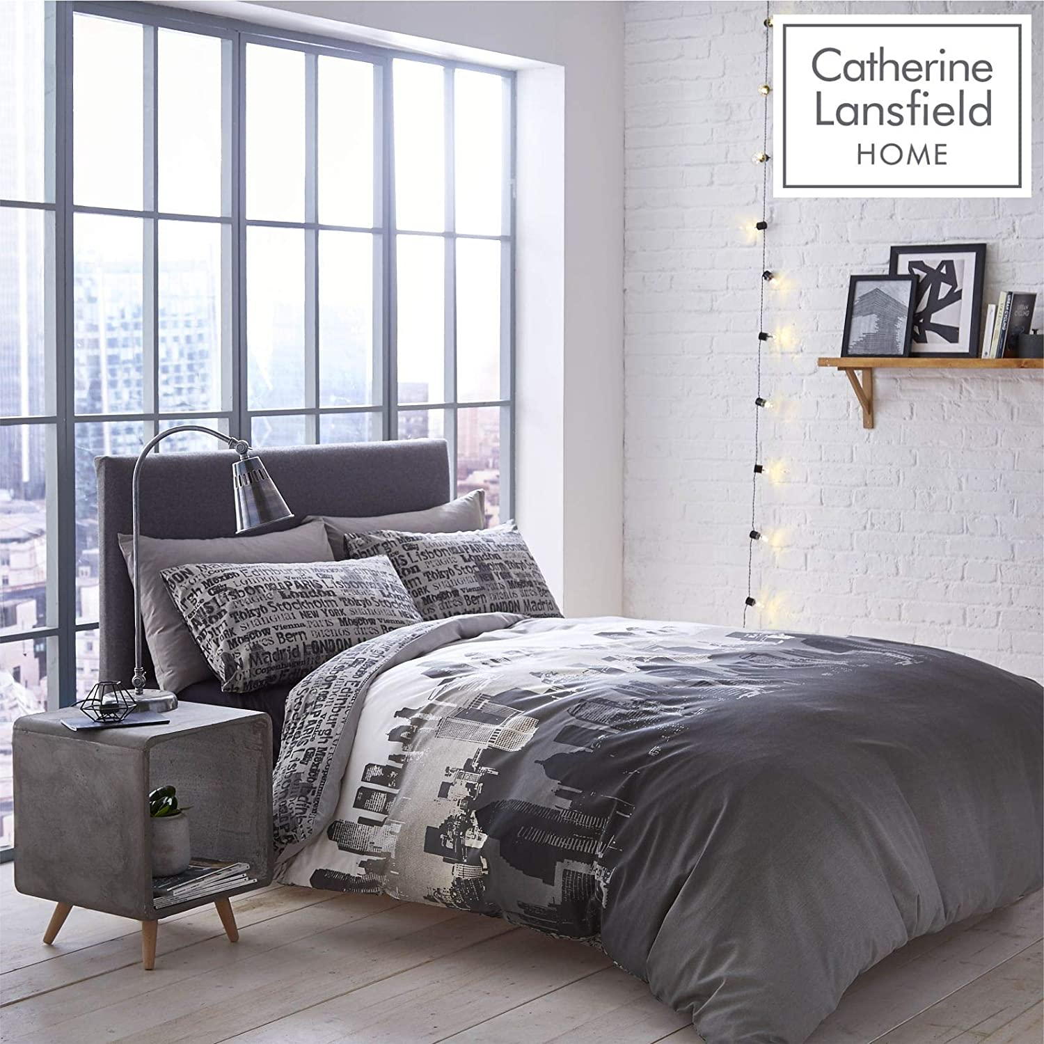 Catherine Lansfield Skyline Urban New York City Scape King Duvet Cover Set Grey