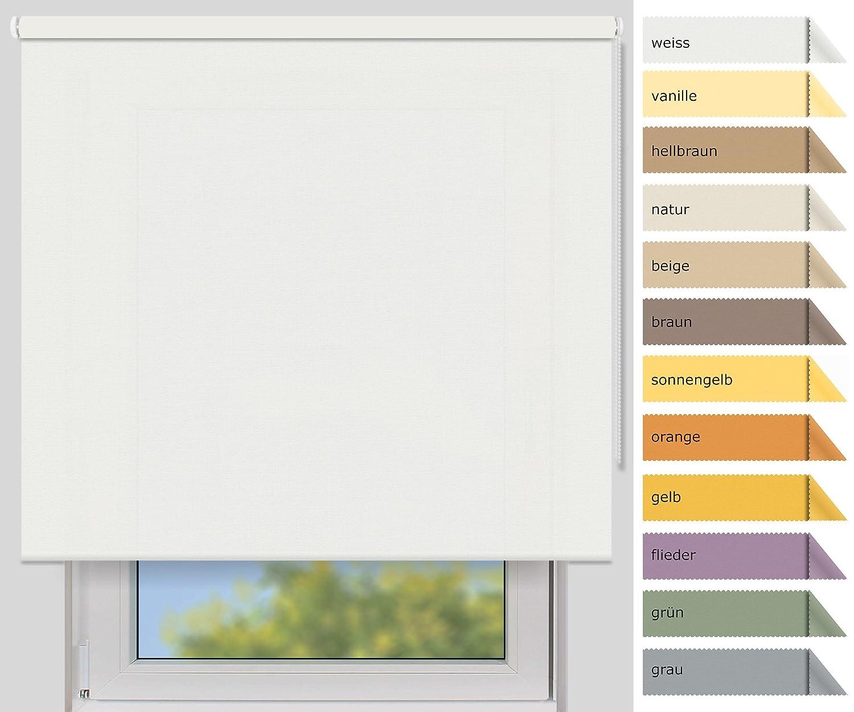 Der Jalousienladen EFIXS Sichtschutzrollo Medium - 25 mm Welle - Farbe  weiß - Größe  240x190cm (Stoffbreite x Höhe) - weitere Standard-Größen wählbar B00YEWS3WW Seitenzug- & Springrollos