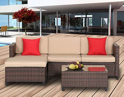Oakmont 5 Piece Sectional Sofa Set All Weather Brown Striped Wicker Patio Furniture with Beige Zippered Cushions and Glass Top Coffee Table