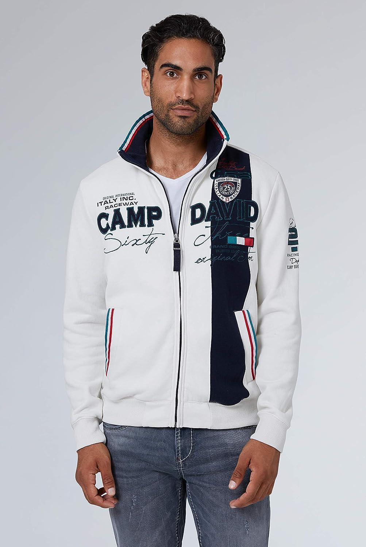 Camp David Herren Sweatjacke mit Farbstreifen und Arwork