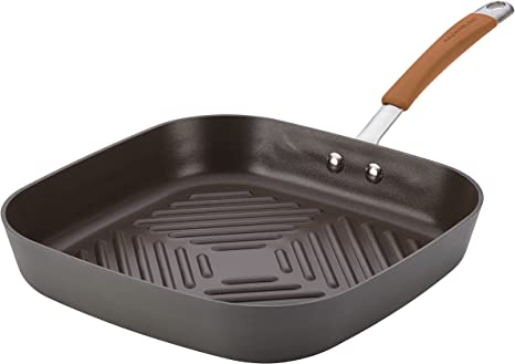 11 inch Rachael Ray Cucina Hard Grill Gray with Orange Handles