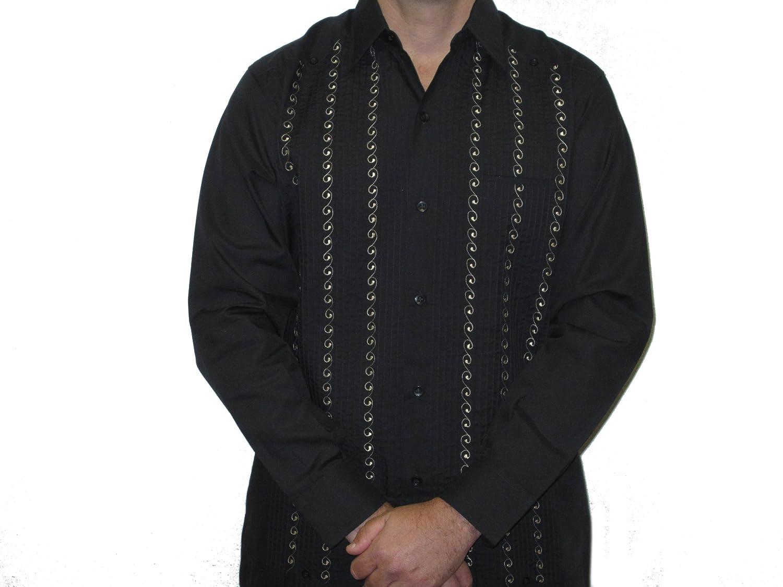 ABDALA Mens Presidente Guayabera-Black//Khaki-1X