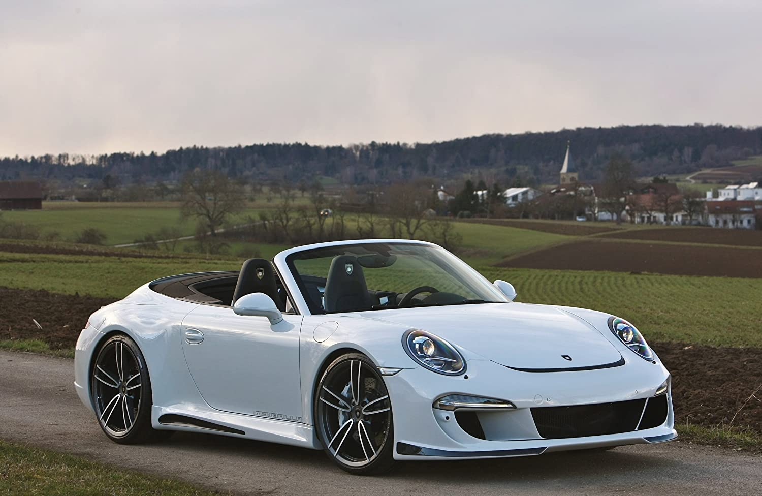 Amazon.com: Porsche 911 Gemballa Carrera S Cabriolet (2013) Car Art Poster Print on 10 mil Archival Satin Paper White Front Side View 16