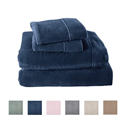 Great Bay Home Extra Soft Cozy Velvet Plush Sheet Set. Deluxe Bed Sheets with Deep Pockets. Velvet Luxe Collection (Full, Denim Blue) best full-size fleece sheets