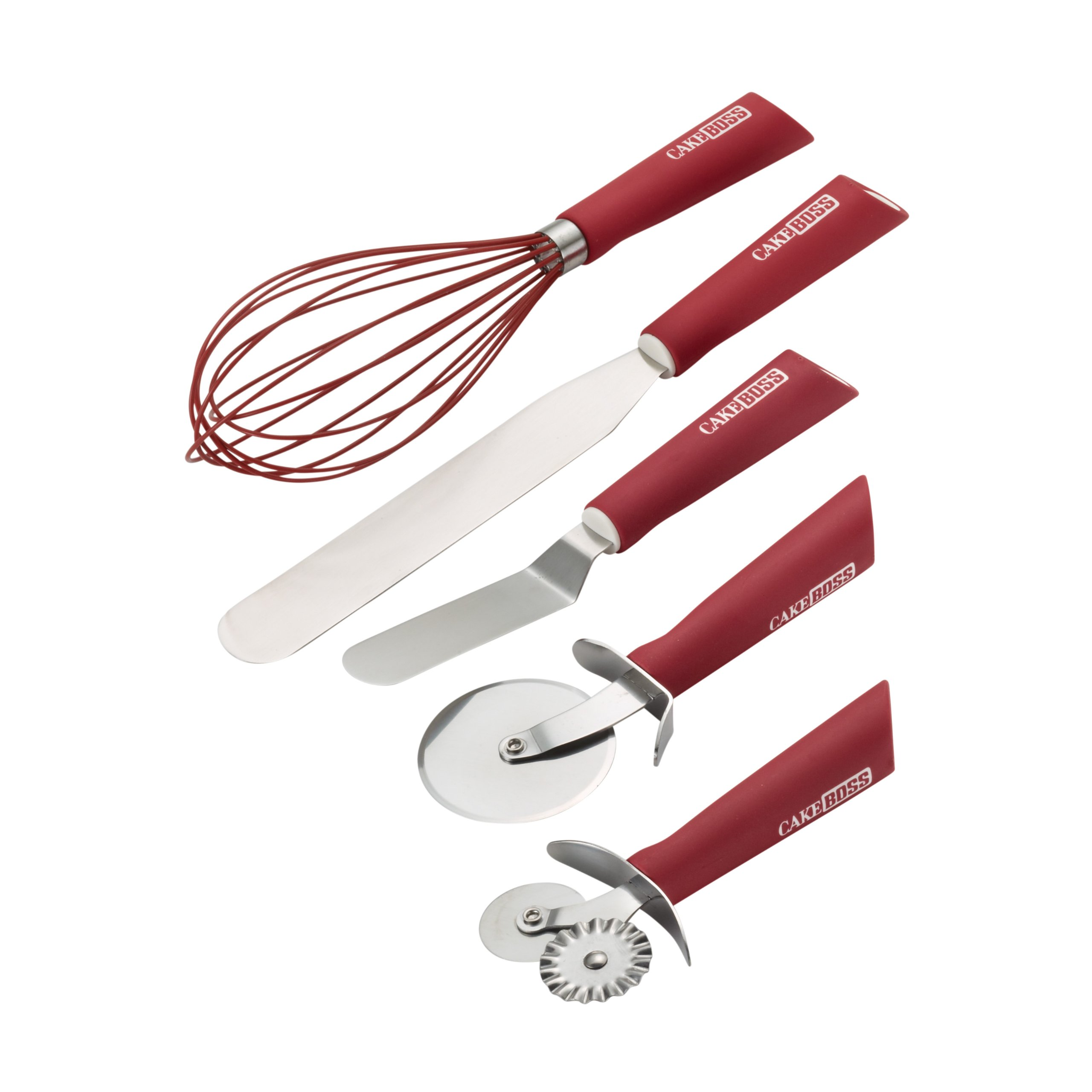 Cake Boss Stainless Steel Tools and Gadgets 5-Piece Baking and Decorating Tool Set, Red by Cake Boss