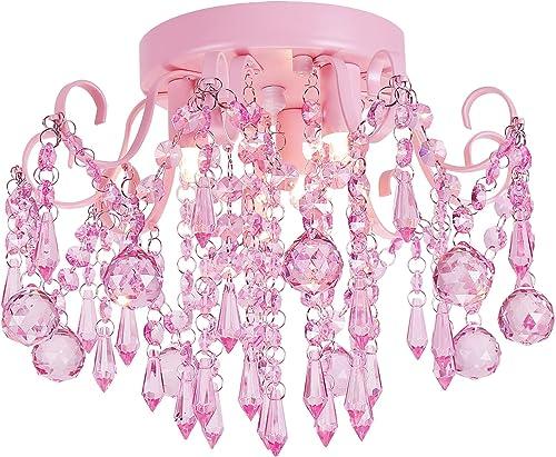 Q S Mini Chandelier Crystal,Pink Chandelier