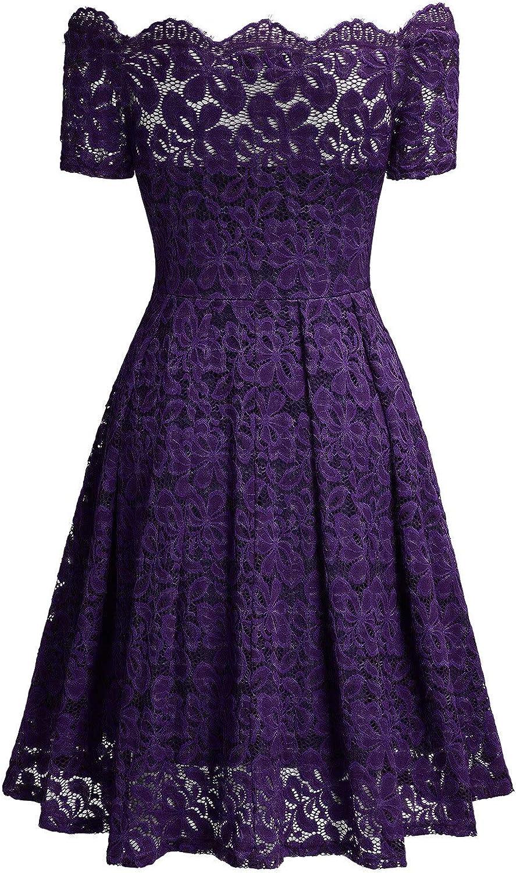 MISSMAY Womens Vintage Floral Lace Short Sleeve Boat Neck Cocktail Formal Swing Dress