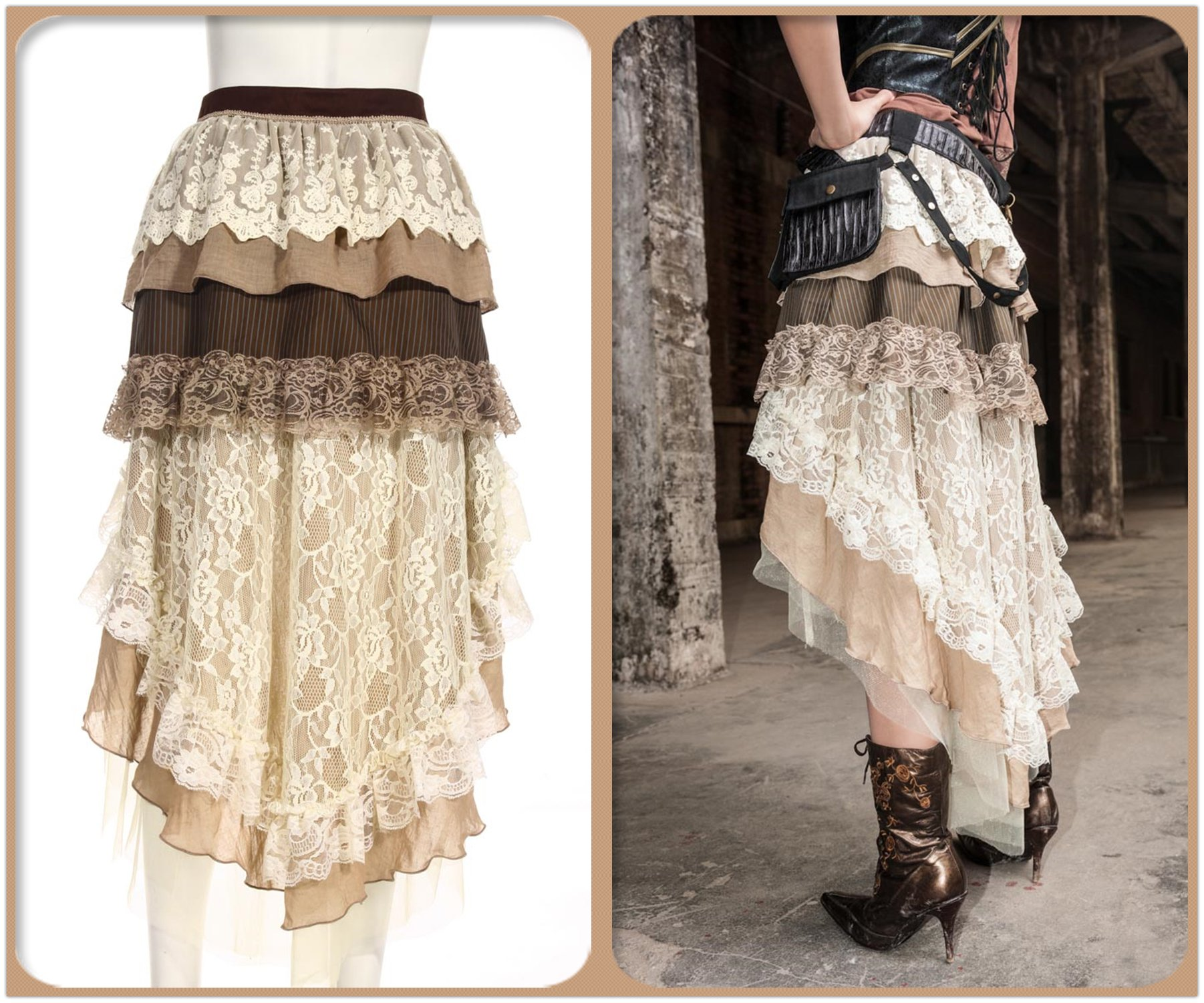 Steampunk Victorian Gothic Sexy Prom Dresses Homecoming Dresses Wedding Dresses Beige 5