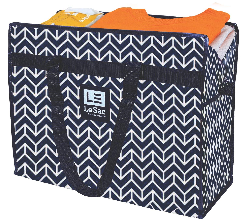 Le Sac Extra Large Heavy Duty Zippered Organizer Storage Tote Bag. Holiday Decor Storage Bag, College Carry Bag, Large Trunk Organizer, Oversize Storage Bag, Camping Laundry Bag 5 Pk