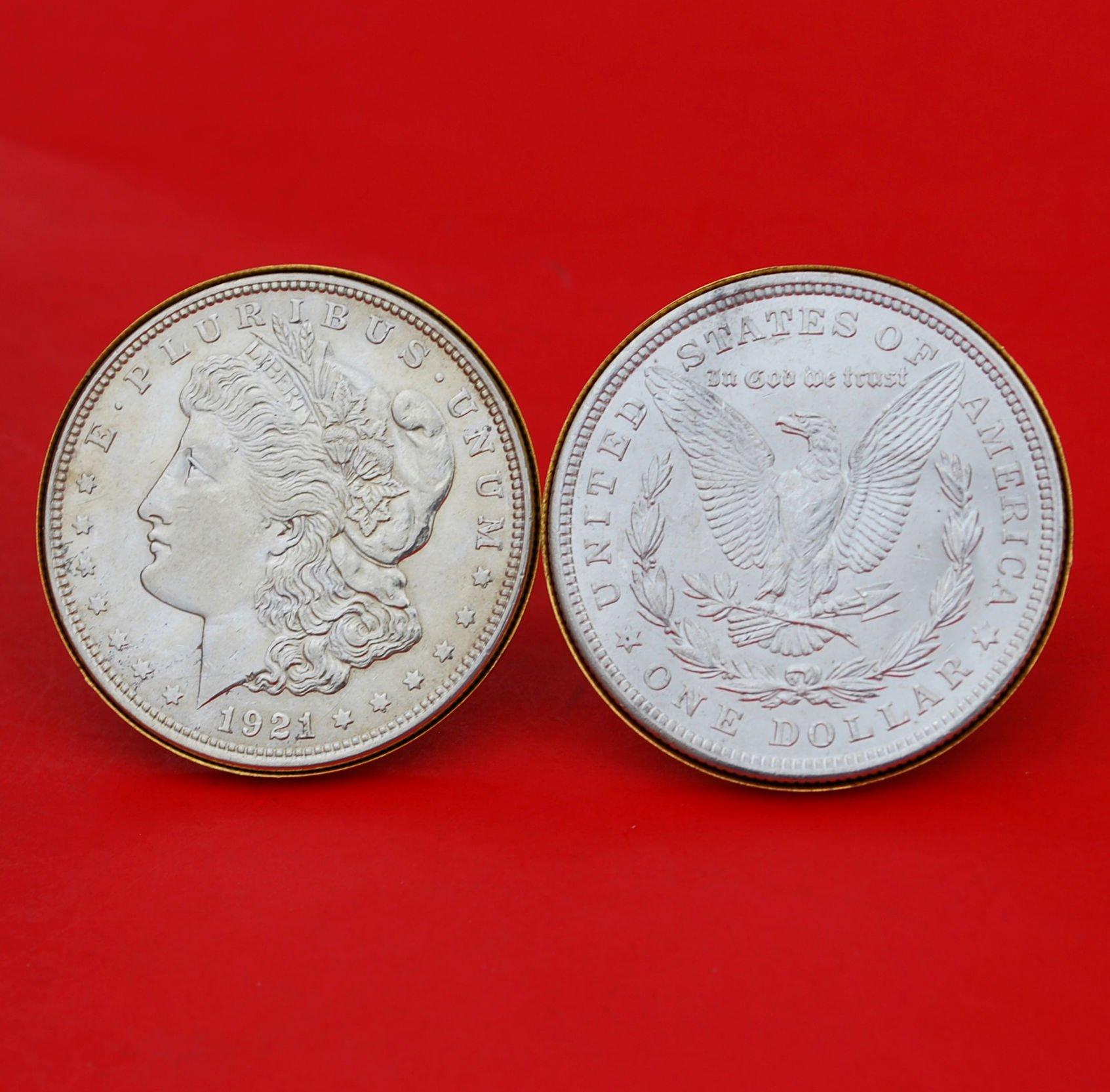 US 1921 Morgan Silver Dollar BU Uncirculated Gold Cufflinks NEW - OBVERSE + REVERSE