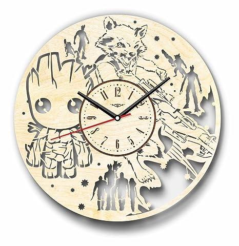 Guardianes de la Galaxy Groot mapache reloj de pared hecho de madera – perfecto y muy