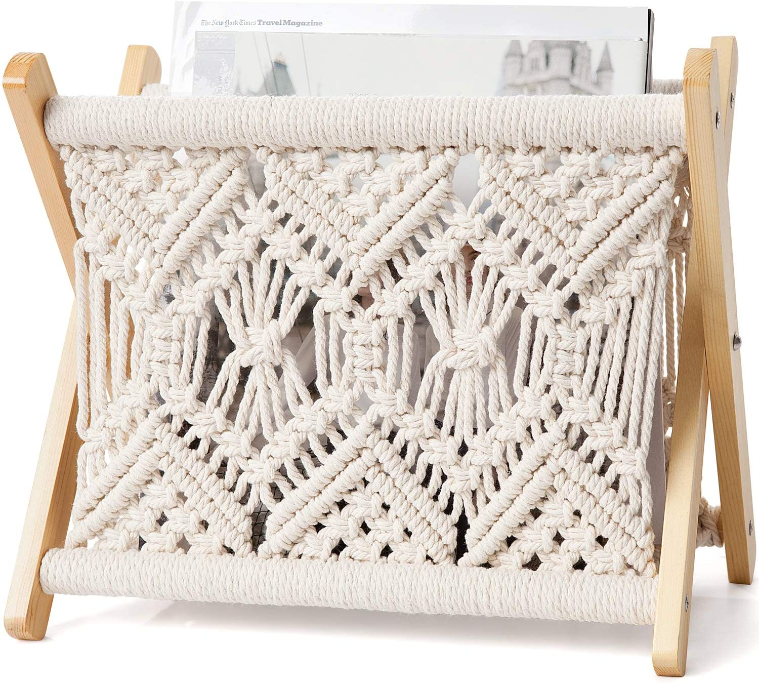 Mkono Macrame Magazine Rack Small Boho Magazine Holder Storage Basket Standing Rack for Books, Newspapers, Notebook, Swaddle Blanket, Living Room, Bathroom, Office, Nursery, Rustic Boho Home Decor