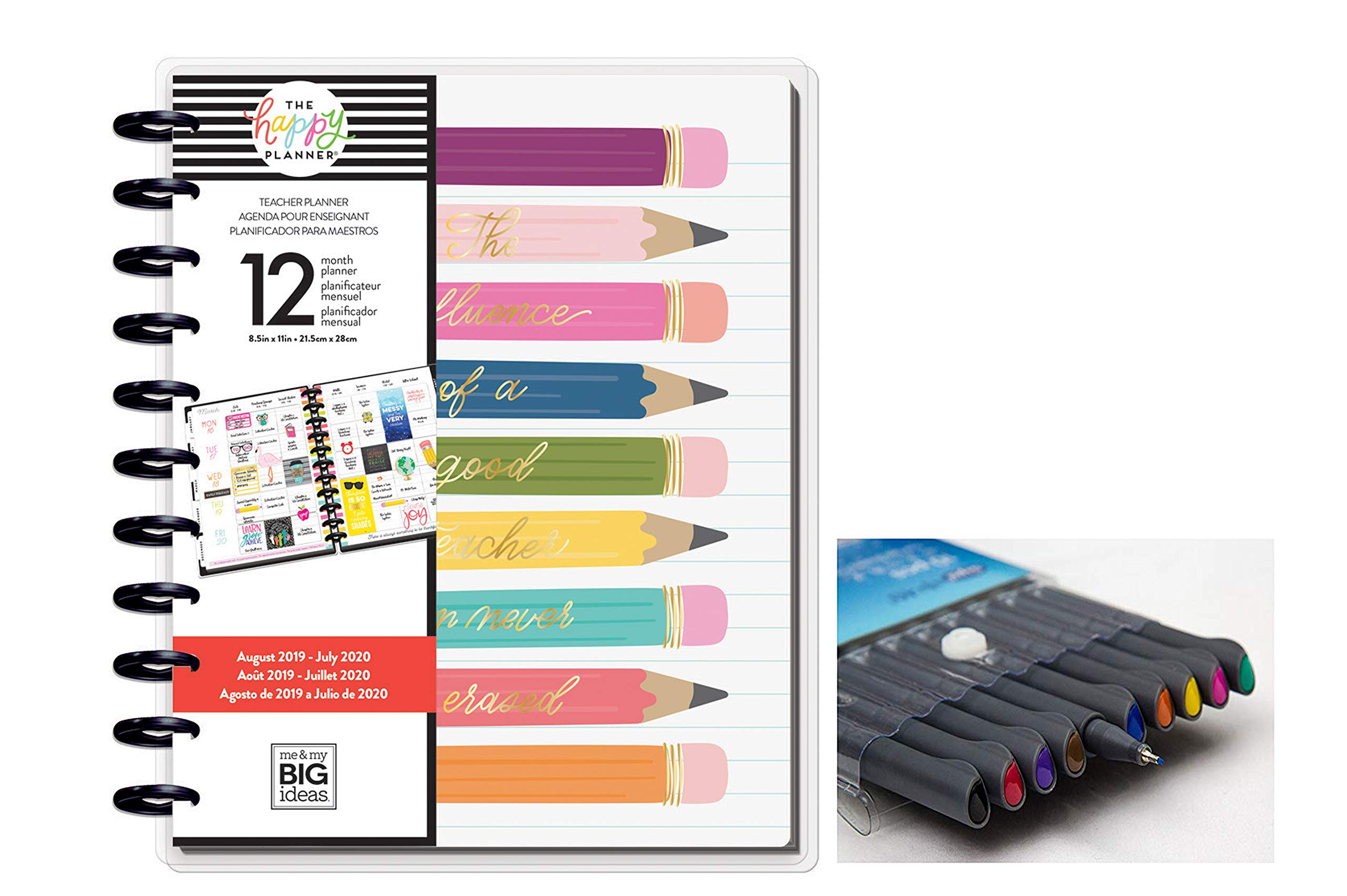 me & My Big Ideas Create 365 The Happy Planner Big Teacher: Influence of a Teacher 12 Month Planner, Aug 2019 - July 2020 Comes with Kemah Craft 10 pc Fineliner Color Pens (Bundle PLNA-22) by Me & My Big Ideas