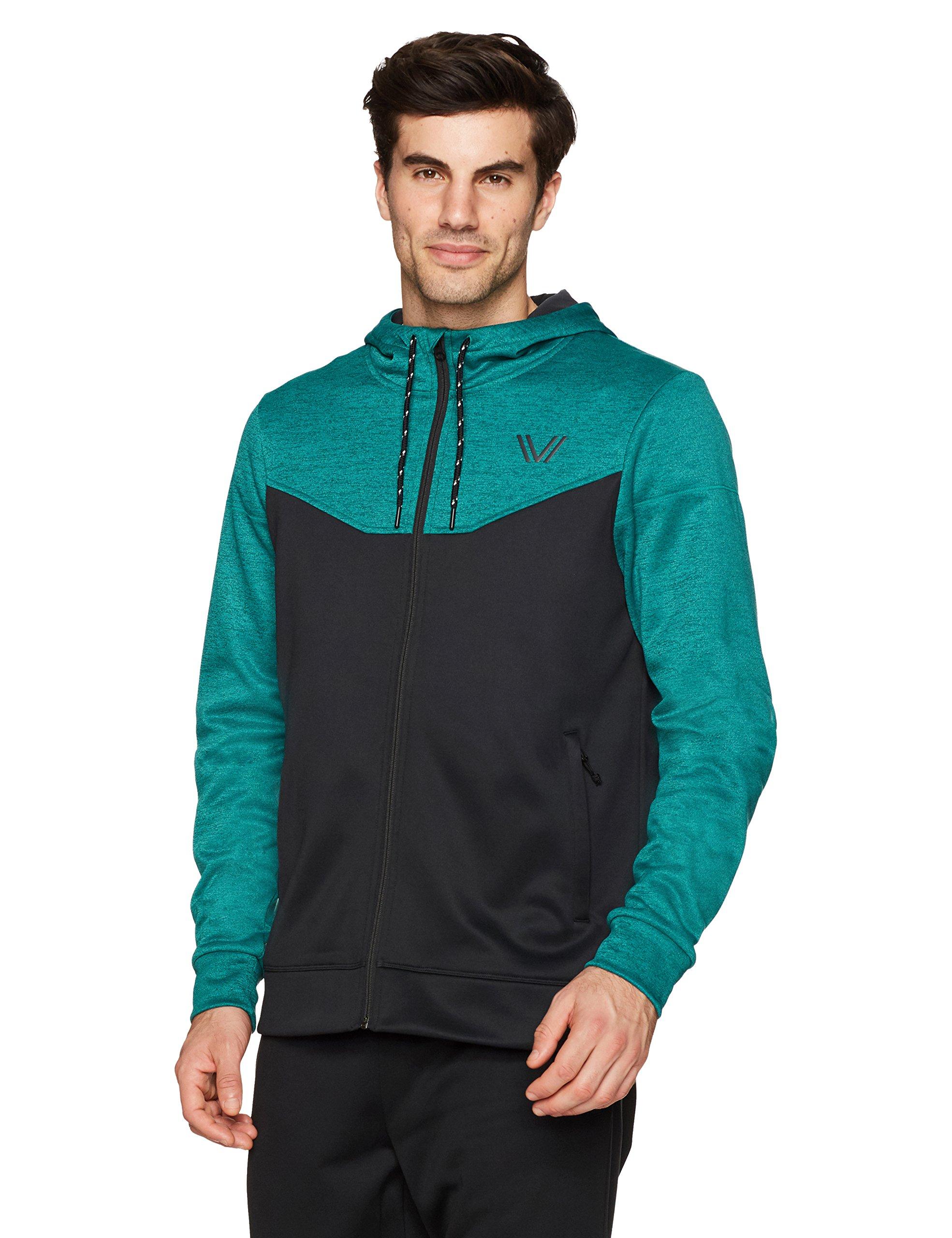 Peak Velocity Men's Quantum Fleece Full-Zip Loose-Fit Hoodie, Punch Green Heather/Black, X-Large