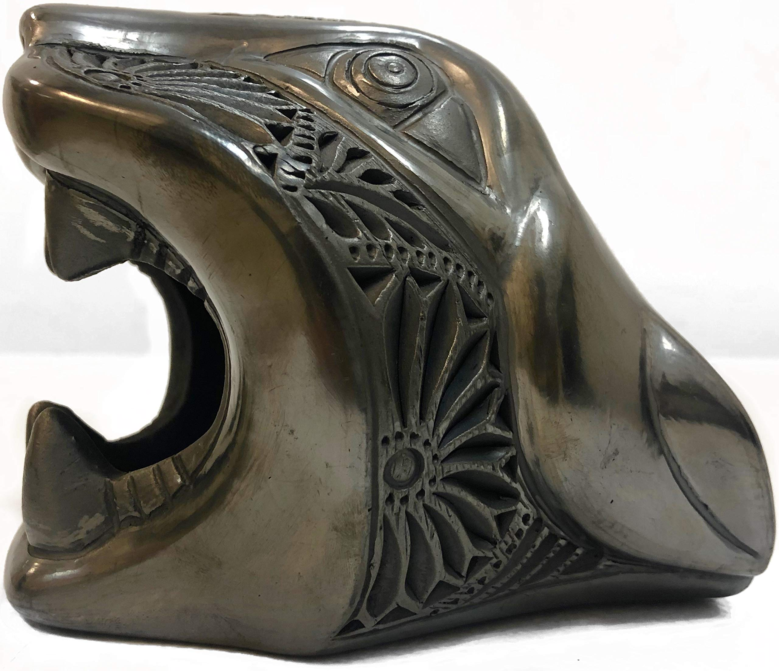 Authentic Piece of Art Made by Oaxacan Artisans from San Bartolo Coyotepec, The Black Clay Jaguar