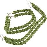 5pares de bandas elásticas para pantalones de color verde militar, trenzadas, cordón elástico
