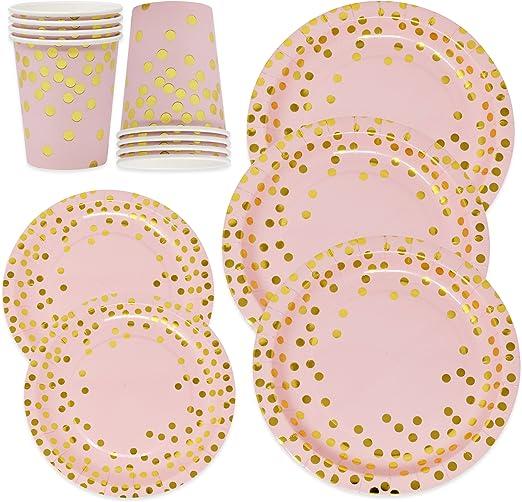 Amazon.com: Juego de platos de papel y tazas para 50 ...