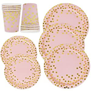 Pink and Gold Party Supplies Paper Plates and Cups Set for 50 Guest; Gold Metallic Foil Dots on Pink 50 Dinner Plates 50 Dessert Plates and 50 9 oz Cups for Baby Shower Birthday Disposable Dinnerware