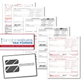 Tangible Values W-2 Laser Forms (4-Part) Kit with Envelopes for 50 Employees (2017)