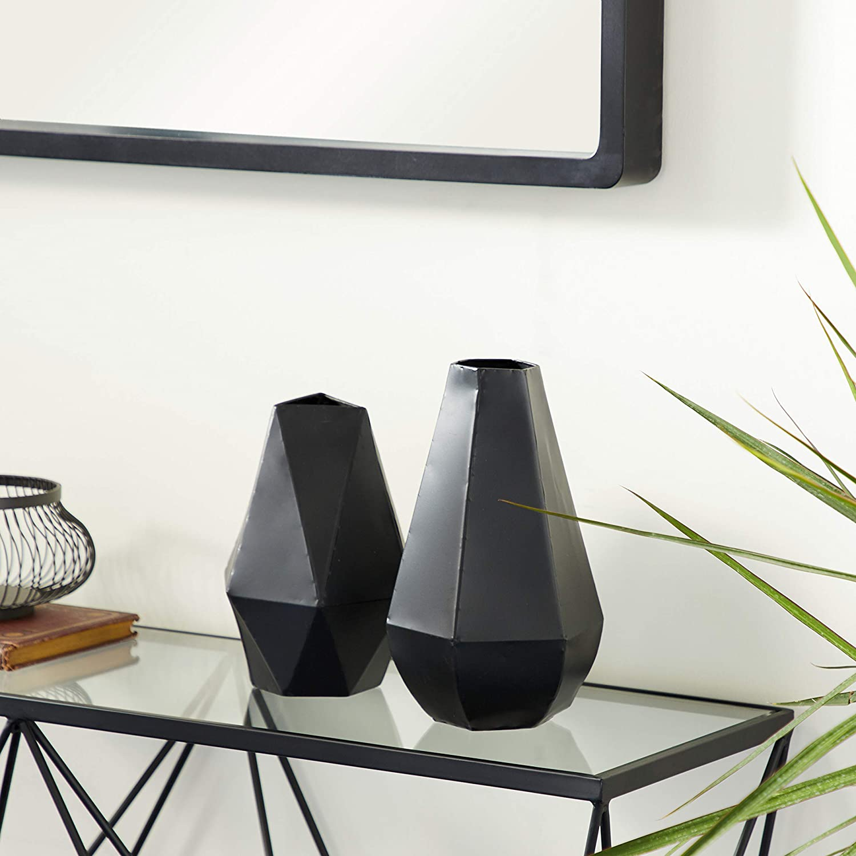 "Benzara Antique Colonial Attractive Metal Vase, 12"" and 10"" H, Matte Black Finish, Set of 2"