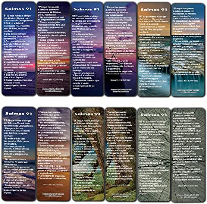 NewEights español Salmo 91 señales tarjetas RVR1960 (60-Pack) - Regalitos Ministerio Iglesia - Bible Church Estudio regalos de incentivos maestro de la clase Suministros: Amazon.es: Oficina y papelería
