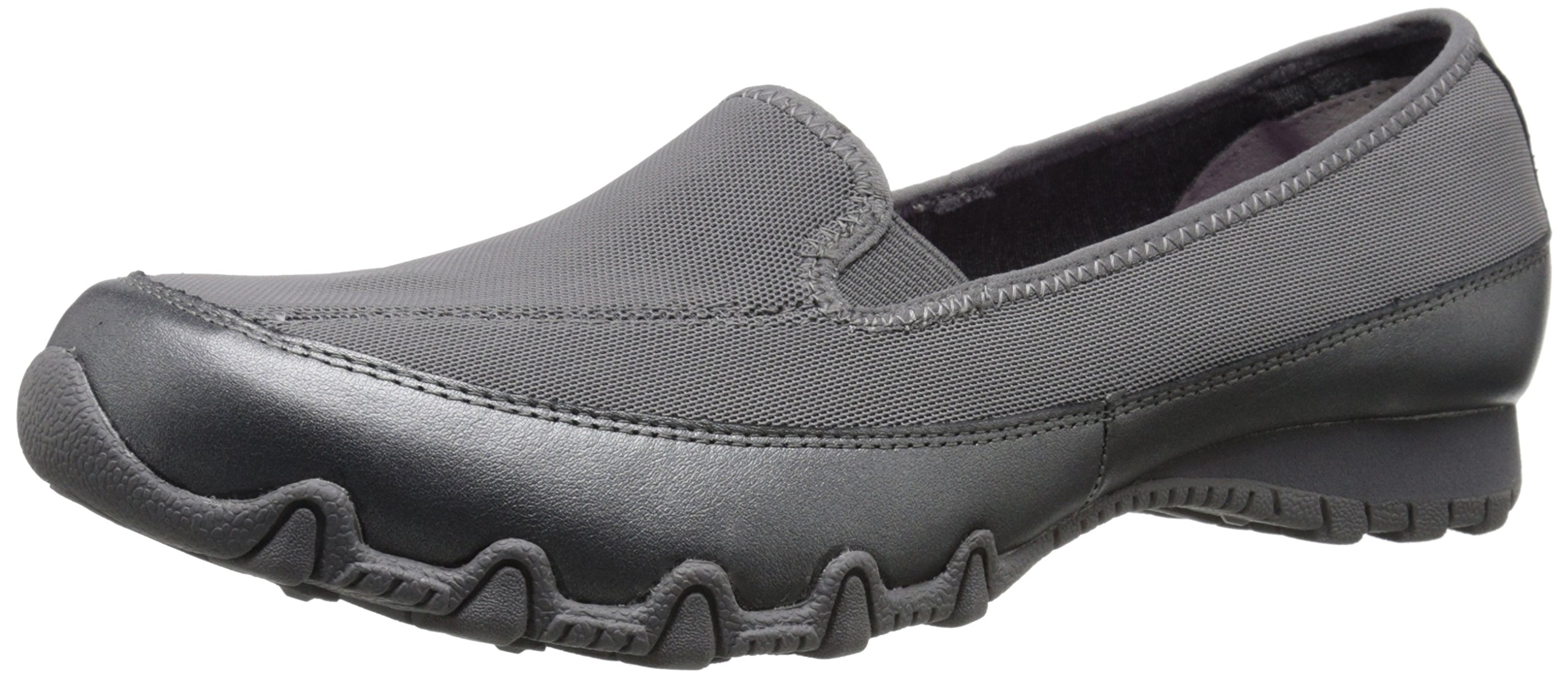 Skechers Women's Bikers pedestrian Memory Foam Slip-On Moccasin,7.5 M US,Charcoal Leather/Mesh