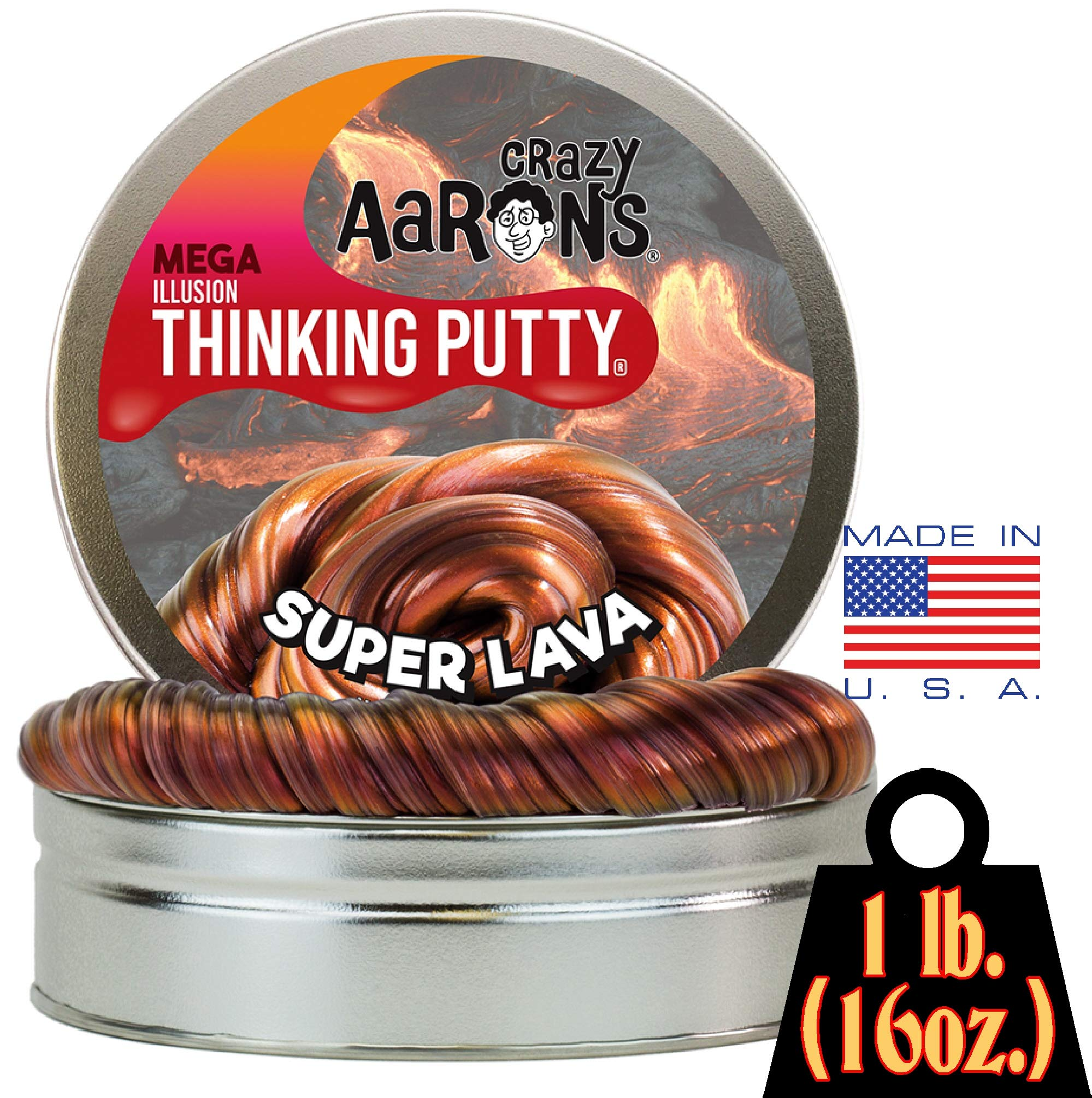 Crazy Aaron's Thinking Putty - Super Lava MEGA Tin - 1 LB Tin by Crazy Aaron's