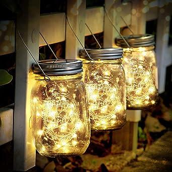 SENYANG Lámpara de Decoración Solar - Juego de 3 Luz Solar Jardín 30 LED Impermeable Luces de Jardin Solares Lámparas Hada para Navidad Jardín Interiores/Exteriores de Patio Césped (Color Cálido): Amazon.es: Iluminación