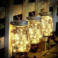 SENYANG Lámpara de Decoración Solar - Juego de 3 Luz Solar Jardín 30 LED Impermeable Luces de Jardin Solares Lámparas Hada para Navidad Jardín Interiores/Exteriores de Patio Césped (Color Cálido)