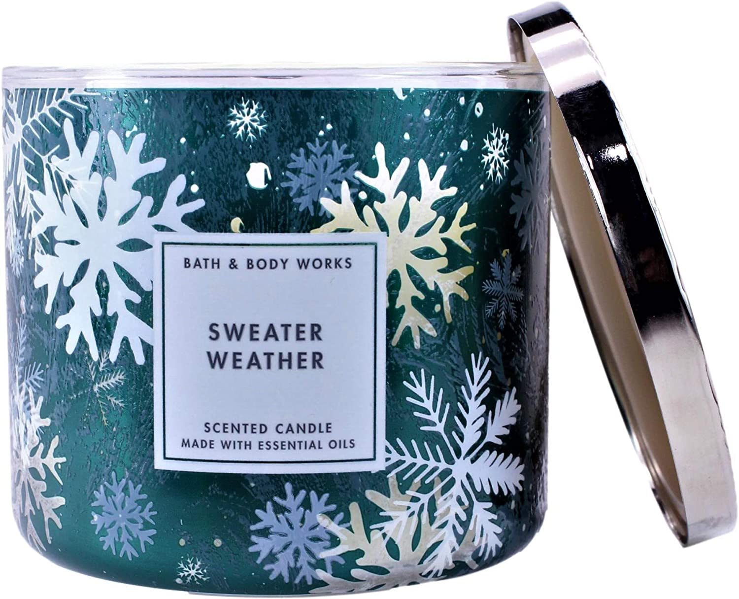 White Barn Bath & Body Works 3-Wick Scented Illuminating Candle in Sweater Weather (2020)