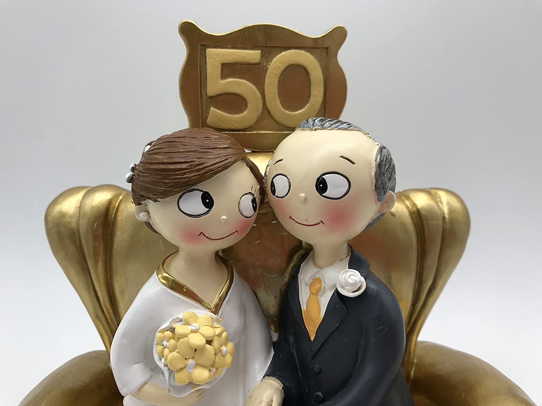 Mopec Pop/&Fun Y500M- Figura para tarta de bodas de oro 16x16,5cm Pelo moreno y canoso 50 aniversario color dorado oscuro