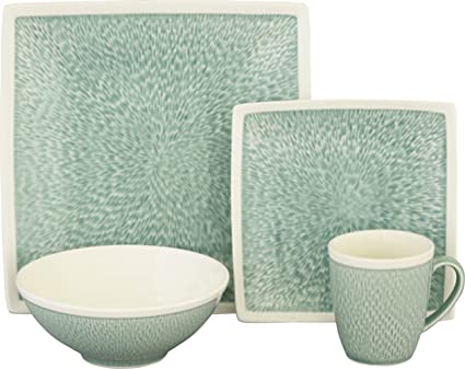 Sango 16 Piece Vega Dinnerware Set Aqua  sc 1 st  Amazon.com & Amazon.com | Sango 16 Piece Vega Dinnerware Set Aqua: Dinnerware Sets