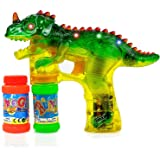 Dinosaur Bubble Gun Shooter with LED Lights, Sounds, Batteries, and 2 Bottles Solution