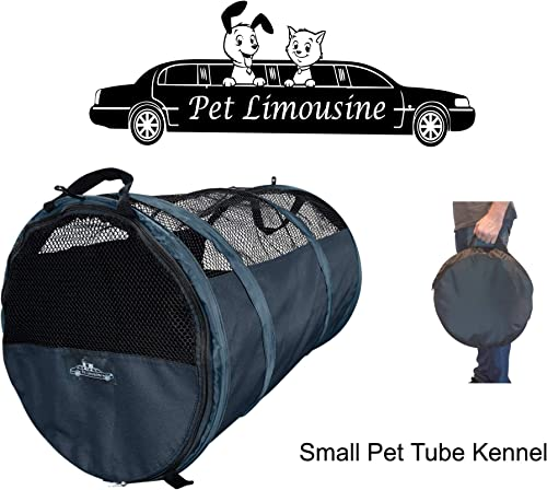 HandinHandCreations Pet Tube Soft Car Crate Small Kennel The Safe Dog and Cat Travel Mobile Home Pet Limo with Seat Belts and Storage Bag SUV